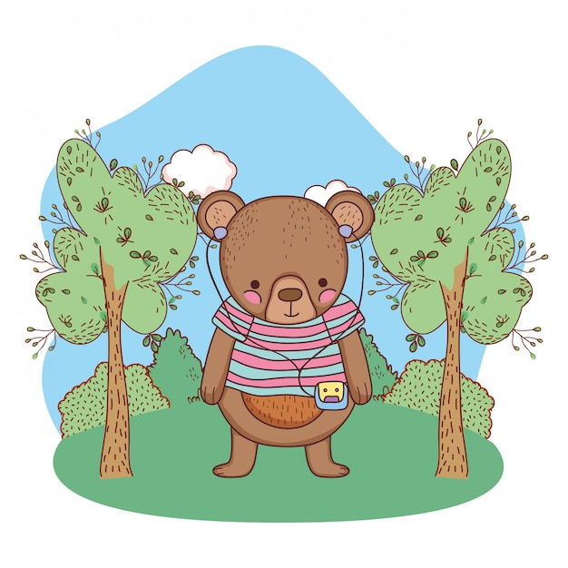 Cute little bear with shirt and walkman in the camp Premium Vector