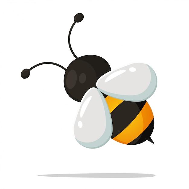 Cute little bee cartoon Premium Vector