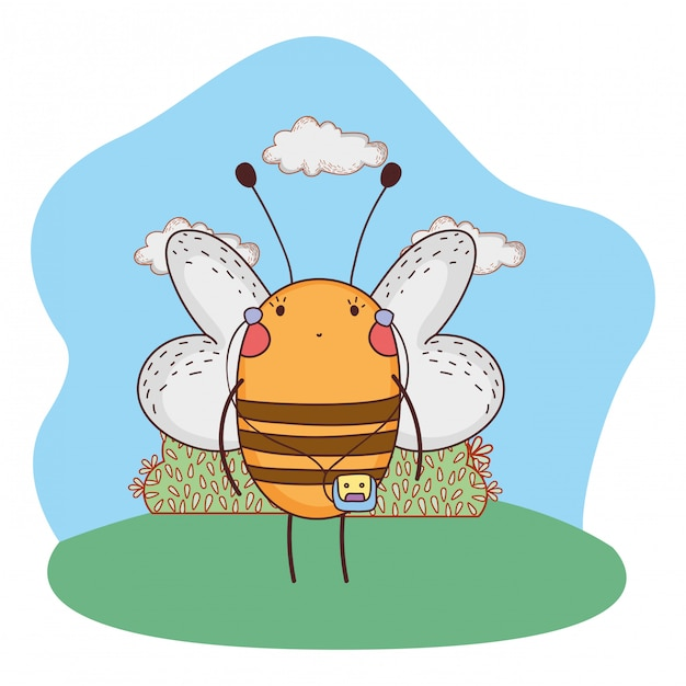 Cute little bee with walkman in the camp Premium Vector