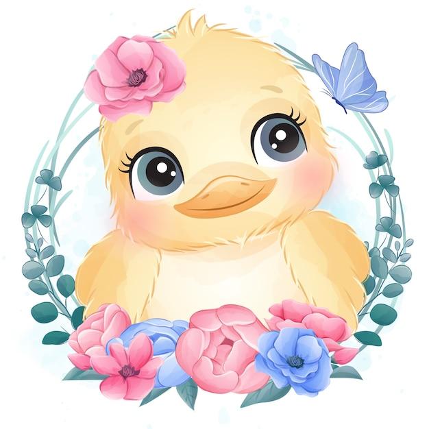 花とかわいい鳥の肖像画 Premiumベクター