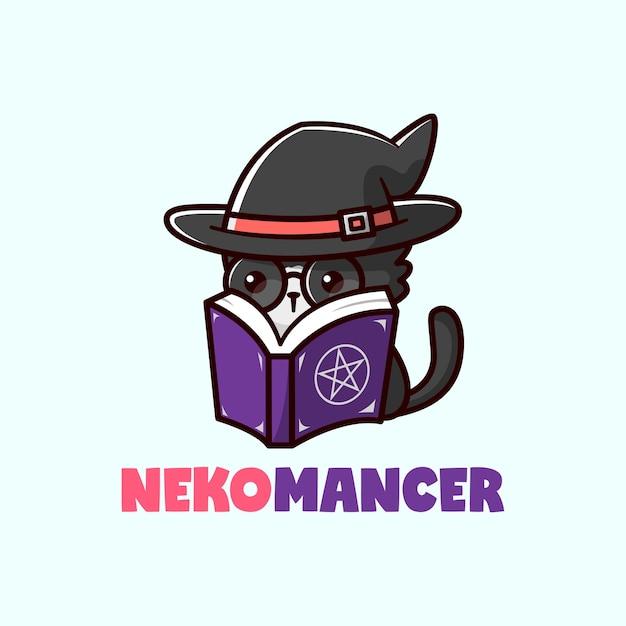 魔女の帽子をかぶって魔法の本を読んでいるかわいい小さな黒い猫 Premiumベクター