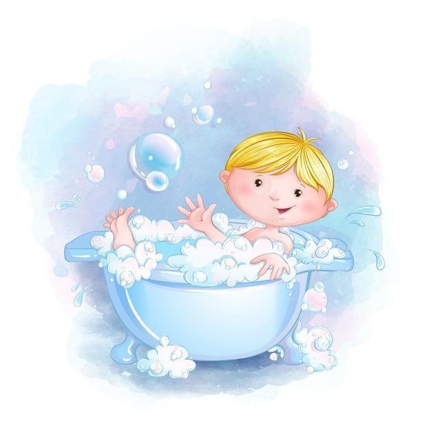 Милый маленький мальчик купается в ванне с мыльной пеной и пузырьками. Premium векторы