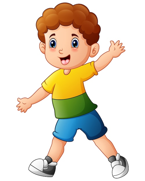Cute little boy cartoon   Premium Vector