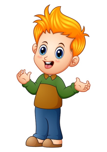 Cute little boy cartoon Vector   Premium Download