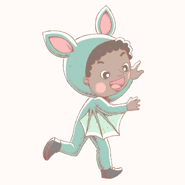 コウモリの衣装を着て、幸せな表情を示すかわいい男の子 Premiumベクター