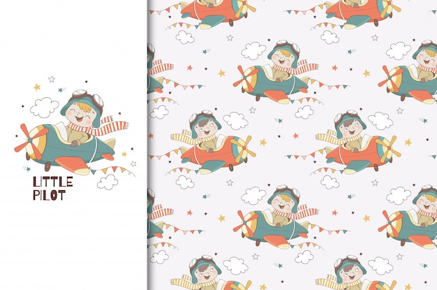 Cute little boy pilot character. kids card print template and seamless   pattern. hand drawn   design   illustration. Premium Vector
