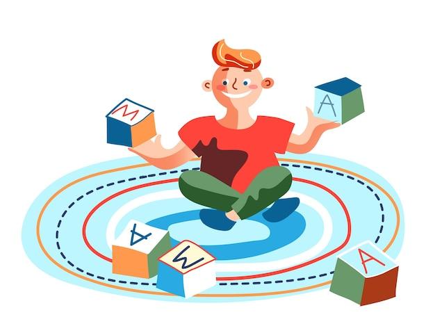 アルファベットを遊んでいるかわいい男の子は床のカーペットの上に座っている子供をブロックします Premiumベクター