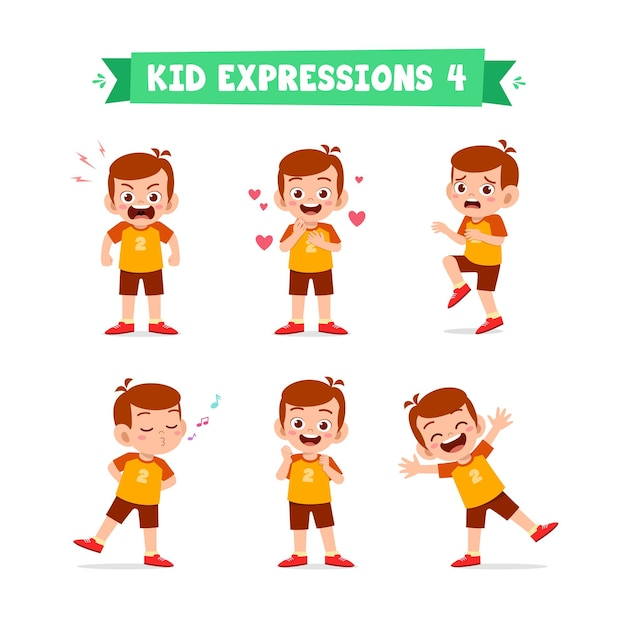 Cute little boy in various expressions and gesture set Premium Vector
