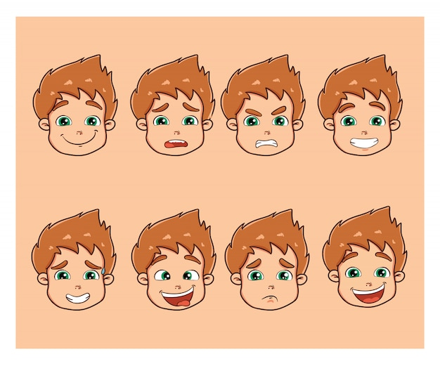 Cute little boy with different emotions Premium Vector