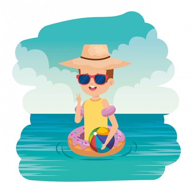 Cute little boy with donut float and beach balloon on the sea Premium Vector