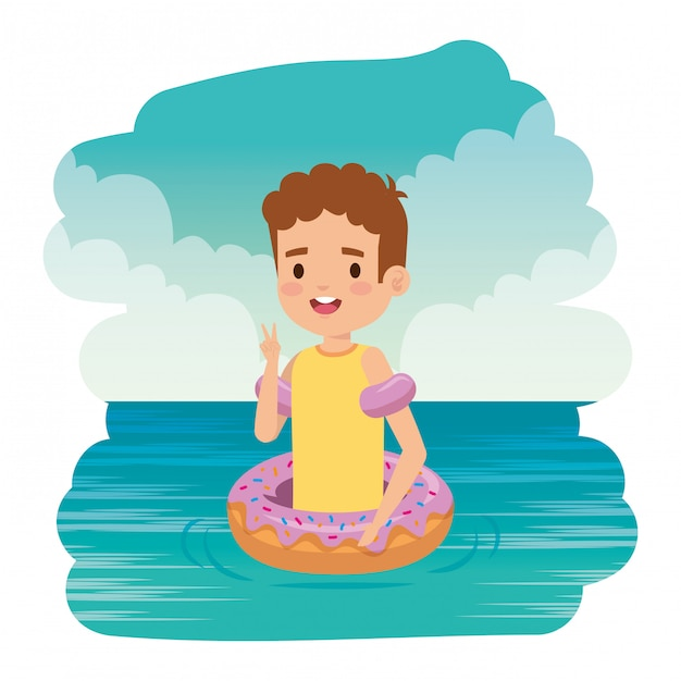 Cute little boy with shirt and donut float on the sea Premium Vector