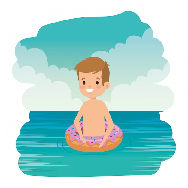 Cute little boy with swimsuit and donut float on the sea Premium Vector