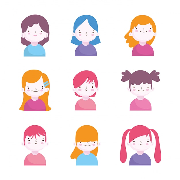 Cute little boys and girls characters portrait set Premium Vector