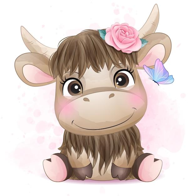 Милый маленький буйвол с акварельной иллюстрацией Premium векторы
