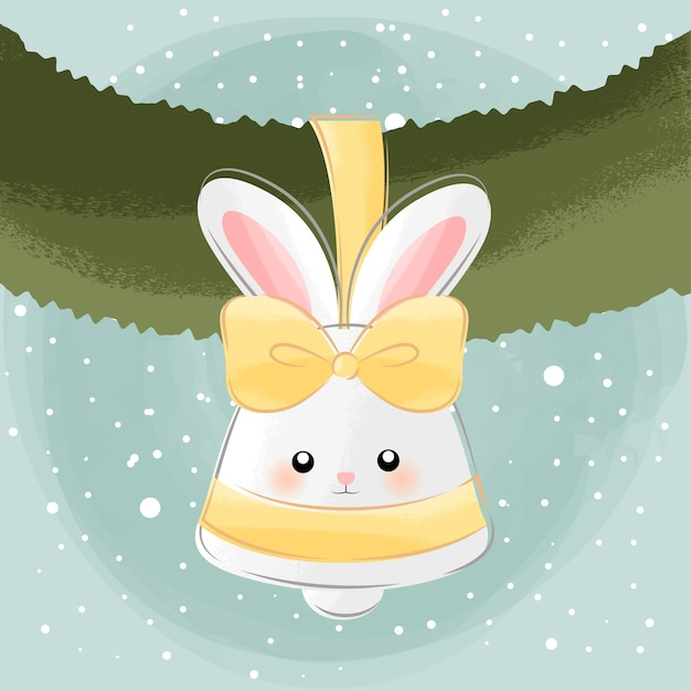 Cute little bunny bell Premium Vector