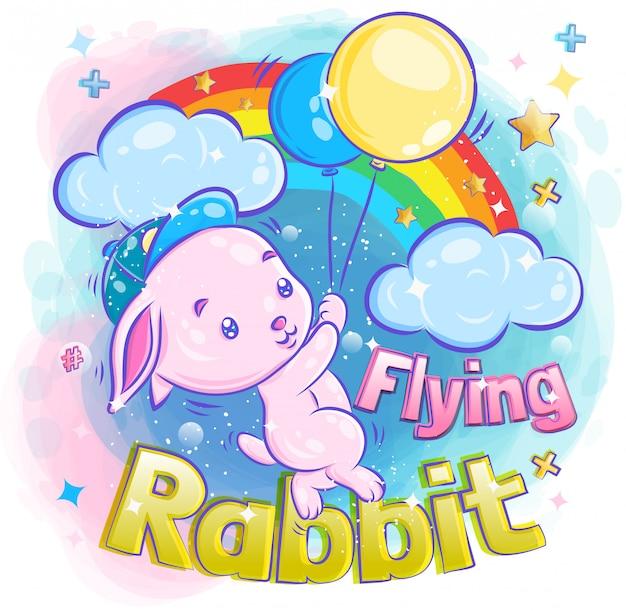 Cute little bunny flying with balloon illustration Premium Vector