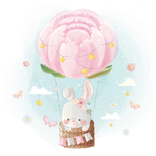 Cute little bunny flying with peonies balloon Premium Vector