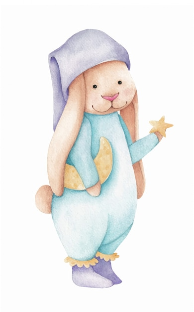 Милый маленький кролик со звездой и луной. акварельные иллюстрации Premium векторы