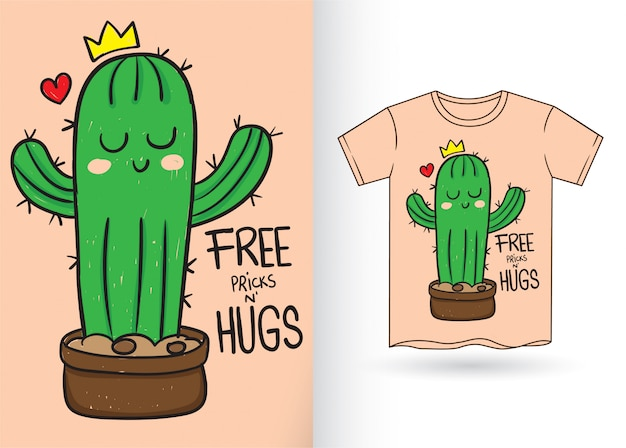 Cute little cactus hand drawn for t shirt Premium Vector