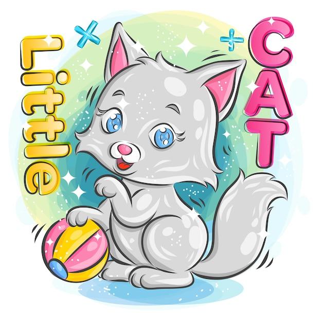 행복 한 표정으로 화려한 공을 재생 귀여운 작은 고양이. 화려한 만화 일러스트 레이 션. 프리미엄 벡터