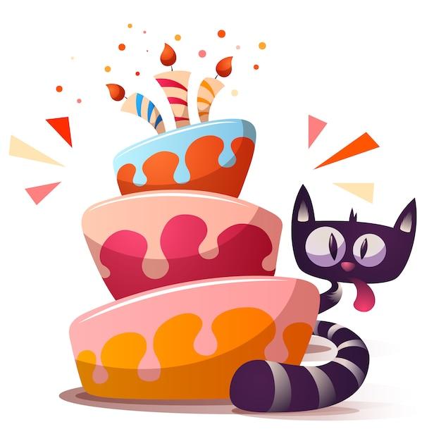 Cute little cat with cake Premium Vector