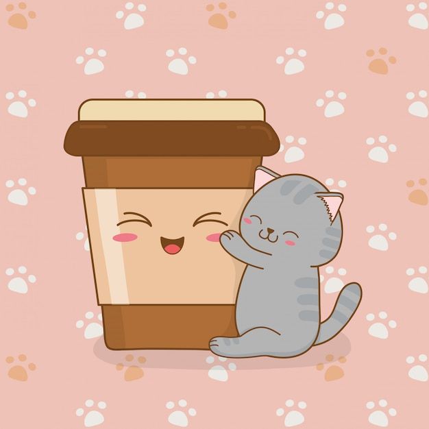 Cute little cat with coffee drink kawaii character Premium Vector