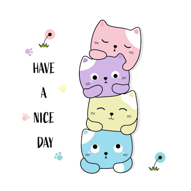Cute little cats hand drawn style Premium Vector