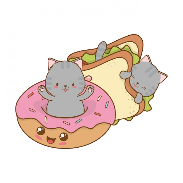 Cute little cats with donuts kawaii characters Premium Vector