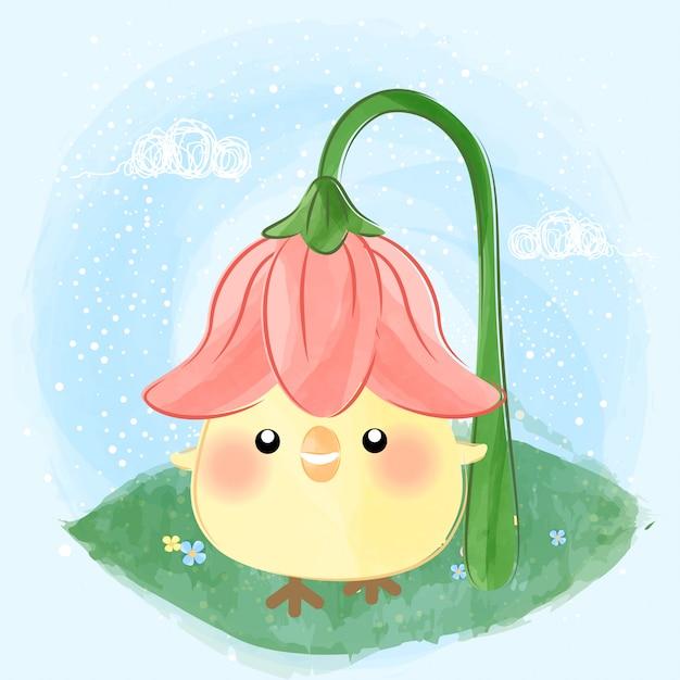 かわいい小さなひよこと花の帽子 Premiumベクター