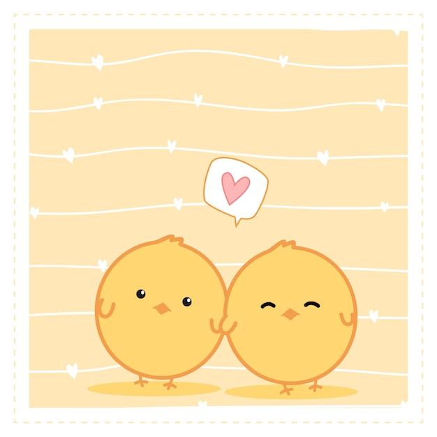 Cute Little Chicken Couple Cartoon Doodle Wallpaper Vector
