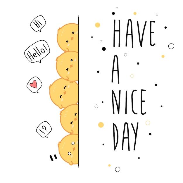 Cute Little Chicken Greeting Cartoon Wallpaper Vector