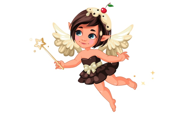Cute little chocolate vanilla fairy with cherry on head Premium Vector