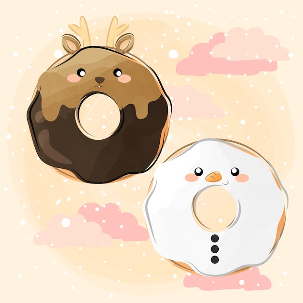 Cute little christmas donuts Premium Vector