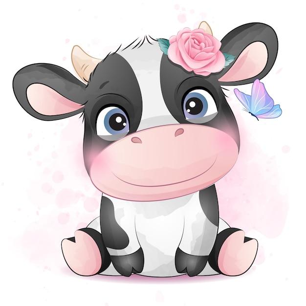 水彩イラストがかわいい牛 Premiumベクター