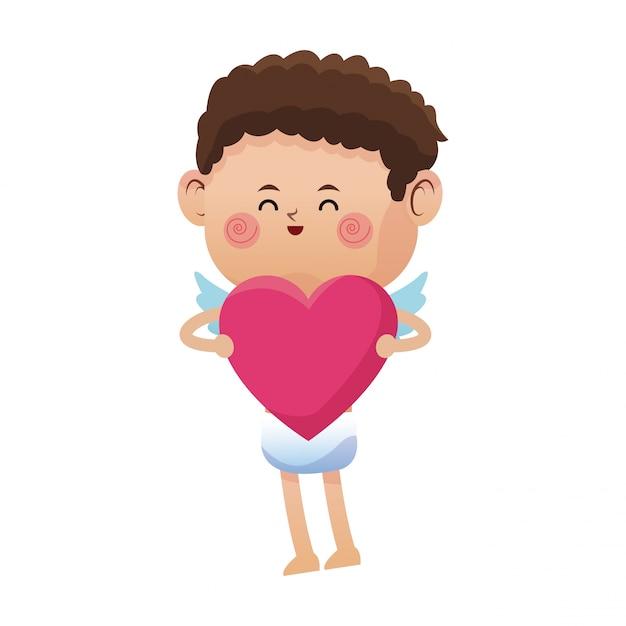 Симпатичный маленький ватиканский день розового сердца Premium векторы