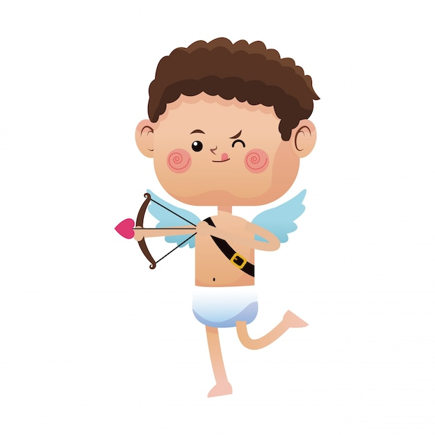 Cute Little Cupid Valentine Day Shooting Bow Arrow Vector Premium