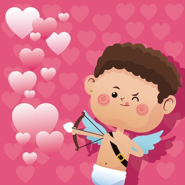 Cute little cupid valentine day shooting bow Premium Vector