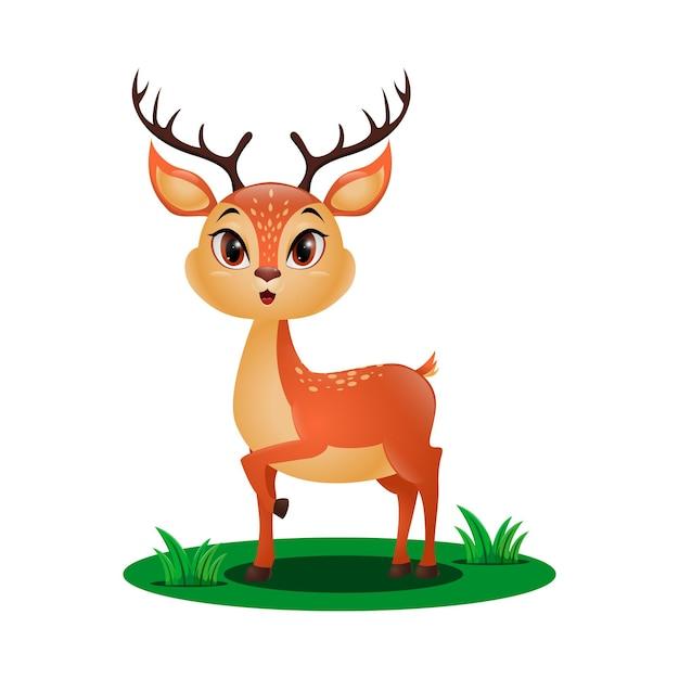 草の中のかわいい小さな鹿 Premiumベクター