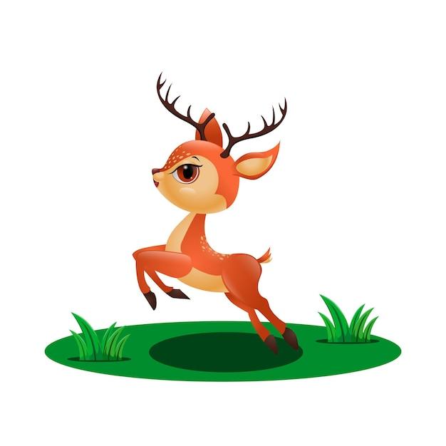草の中をジャンプするかわいい鹿 Premiumベクター