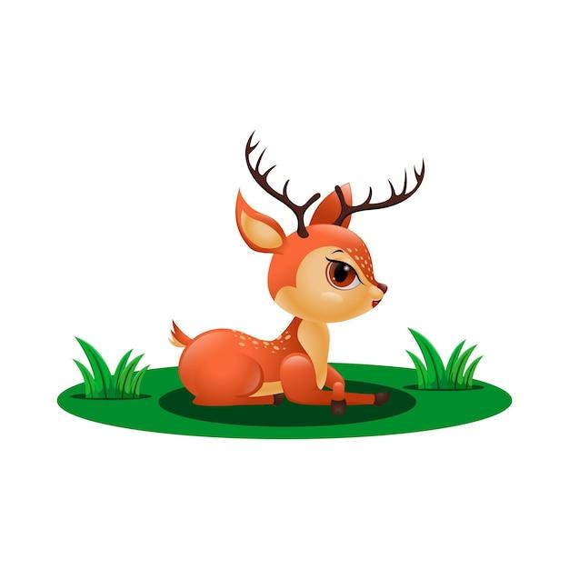 草の中に座っているかわいい鹿 Premiumベクター