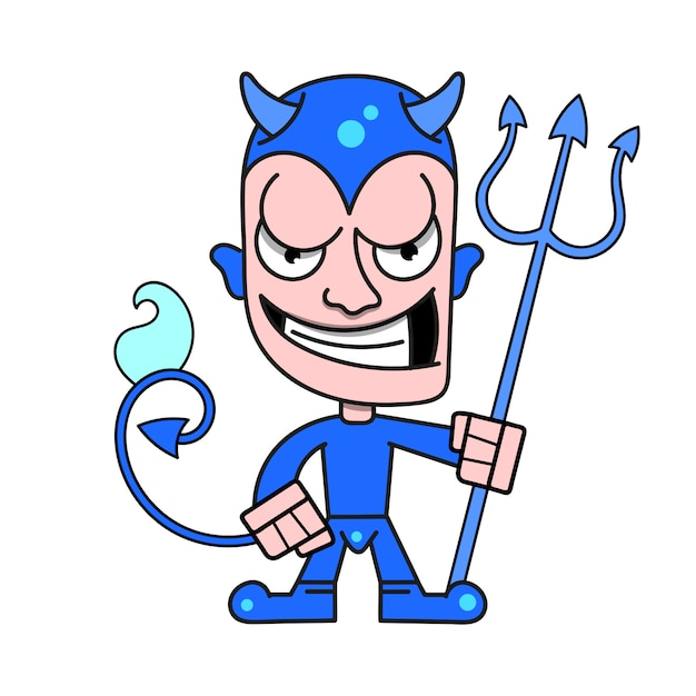 Cute little devil with horns and a flaming trident Premium Vector