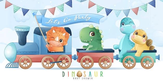電車のイラストに座っているかわいい小さな恐竜 Premiumベクター
