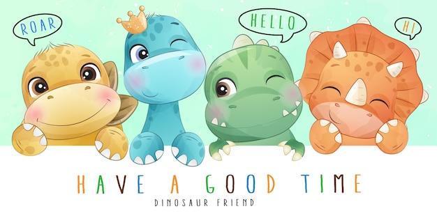 Милый маленький динозавр с акварельной коллекцией Premium векторы