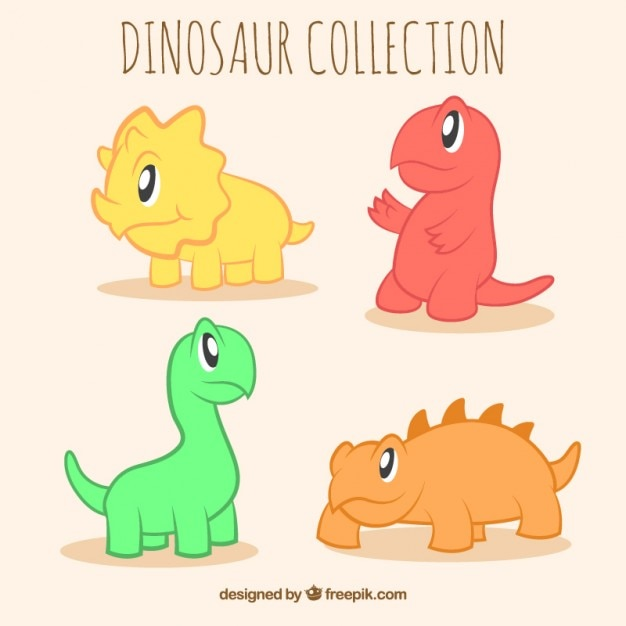 Cute little dinosaurs in colors Free Vector