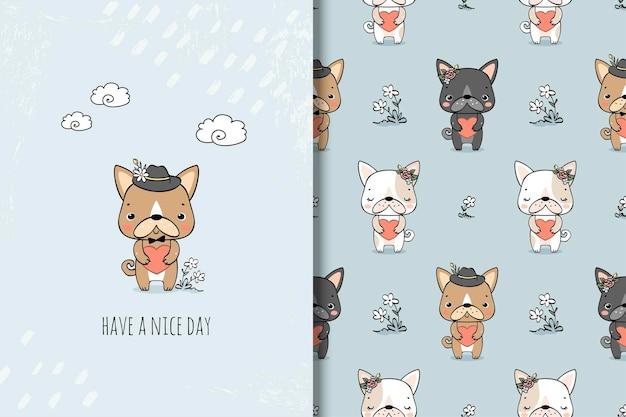 かわいい小さな犬のカードとシームレスなパターン。動物の漫画のキャラクター。 Premiumベクター