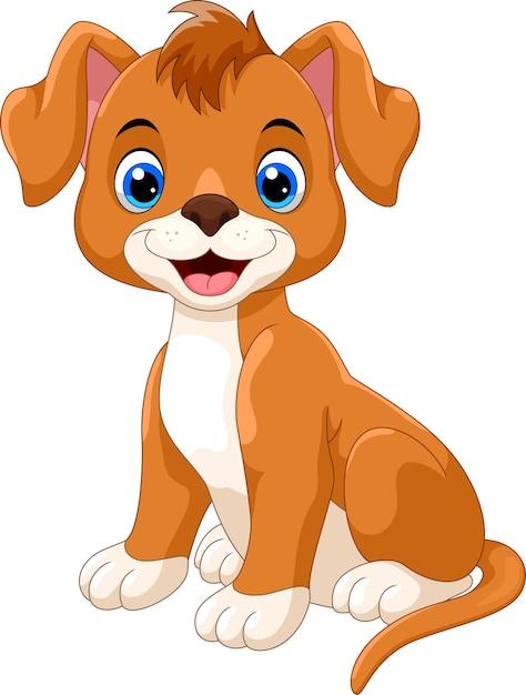 かわいい小さな犬漫画 Premiumベクター