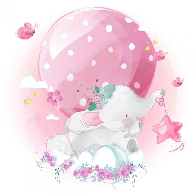 Милый маленький слон и воздушный шар в ярком небе. Premium векторы