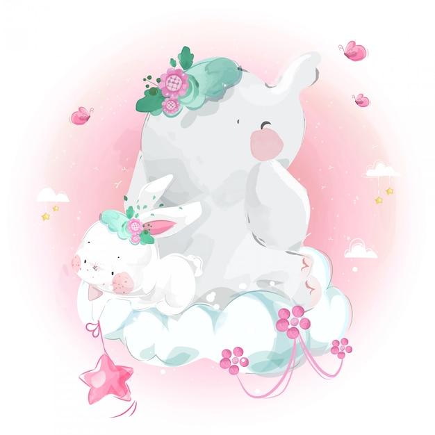 Милый маленький слон и кролик на облаке в ярком небе. Premium векторы