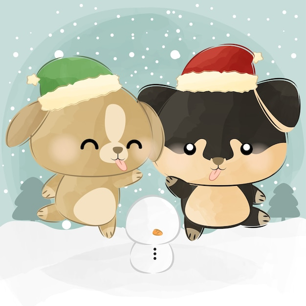 Cute little elf doggie and santa doggie Premium Vector