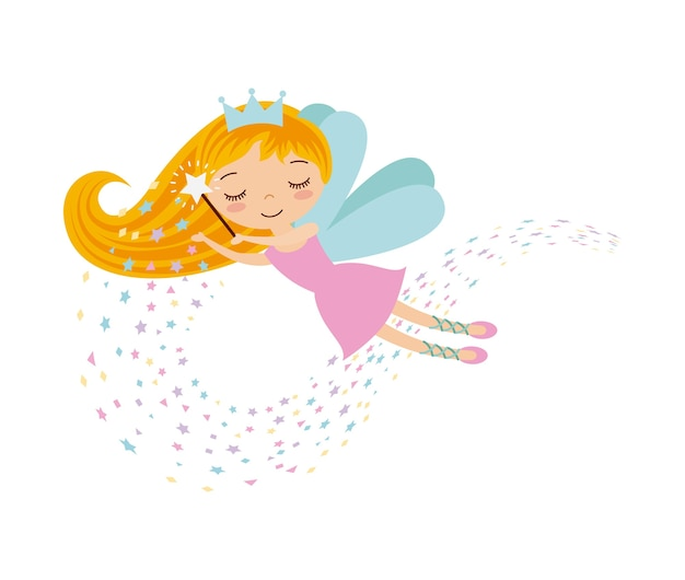 Cute little fairy character Premium Vector